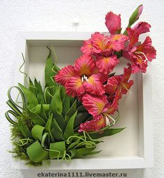 """Цветочная картина """"Гладиолус"""" Ceramic Flowers, Clay Flowers, Dried Flowers, Flower Canvas, Flower Frame, Picture Frame Wreath, Paper Punch Art, Giant Flowers, Tissue Paper Flowers"""