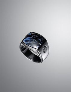 David Yurman Exotic Stone ring for men: pietersite, silver