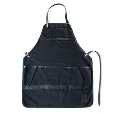 Waxed black canvas apron