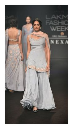 Lakme Fashion week - winter/festive 2018 - Julie Shah - Fashion Show Indian Fashion Dresses, Dress Indian Style, Indian Gowns, Indian Attire, Indian Ethnic Wear, Indian Fashion Trends, Dress Fashion, Indian Suits Punjabi, Pakistani Dresses Casual