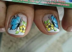 Pretty Toe Nails, Pretty Toes, New Nail Art Design, Nail Art Designs, Butterfly Makeup, Cute Pedicures, Nails & Co, Nail Effects, Toe Nail Art