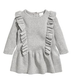 kdimoffphotography.com outfit ideas . Gray melange. BABY EXCLUSIVE/CONSCIOUS. Dress in a soft, fine knit made from organic cotton with decorative ruffles. Opening at back of neck with button.