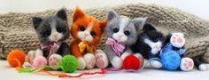 Needle felted kittens by Joanna Zatorska Baby Animals Super Cute, Cute Animals, Food Pillows, Needle Felted Cat, Felt Cat, Wet Felting, Felt Toys, Felt Flowers, Wool