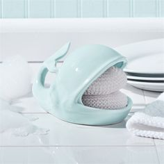 Willy the whale sponge holder. Beach house coastal kitchen. I LOVE this!!