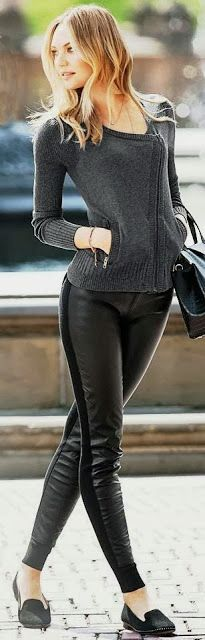 Adorable Leather Legging Outfit