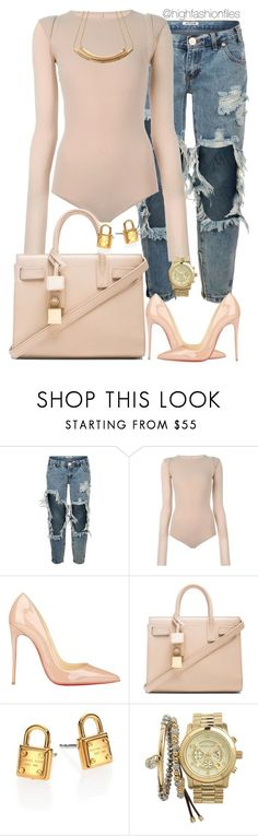 """""""People"""" by highfashionfiles ❤ liked on Polyvore featuring OneTeaspoon, Maison Margiela, Christian Louboutin, Yves Saint Laurent, Michael Kors and MICHAEL Michael Kors"""