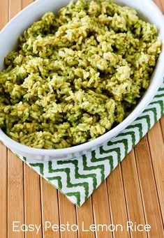 Easy Recipe for Pesto Lemon Rice [from Kalyn's Kitchen] #GlutenFree #SouthBeachDiet
