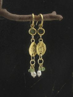 Long 24k solid gold earrings with Labradorite, Peridot and pearls.
