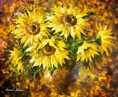 """Living Sunflowers — PALETTE KNIFE Contemporary Still Life Oil Painting On Canvas By Leonid Afremov - Size: 30"""" x 24"""" inches (75 cm x 60 cm)"""