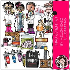 Mad Scientist clip art - Combo Pack - by Melonheadz Science Tools, 2nd Grade Classroom, White Image, Colour Images, Mad, How To Draw Hands, Card Making, Clip Art, Scrapbook
