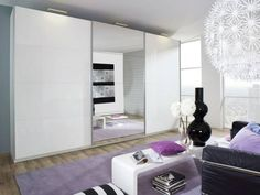 Beluga Plus White Gloss & Mirrored Sliding Wardrobe | Wardrobes from FADS