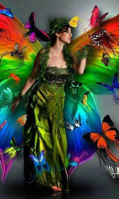 Over The Rainbow Madame Butterfly, Rainbow Butterfly, Butterfly Fairy, Butterfly Kisses, World Of Color, Color Of Life, Rainbow Colors, Vibrant Colors, Colorful