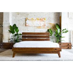 Modern Bed Platform Bed Walnut Bed Midcentury Modern Bed Bed Bedroom... (2,405 CAD) ❤ liked on Polyvore featuring home, furniture, beds, bedroom furniture, beds & headboards, home & living, white, queen headboard, white king headboard and white king size bed
