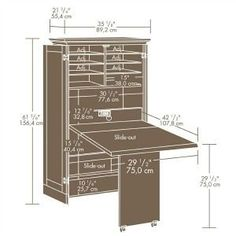 DIY drop-down sewing (or craft, or even dining) table with wall storage