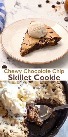 This right here is complete cookie heaven; a soft and chewy Chocolate Chip Skillet Cookie baked in a cast iron pan and served warm with ice cream on top. No rolling or chilling the dough makes this a quick and easy dessert and its always a crowd pleaser. Cookie Desserts, Easy Desserts, Cookie Recipes, Dessert Recipes, Desserts With Yogurt, Quick Chocolate Desserts, Homemade Desserts, Health Desserts, Dessert Simple