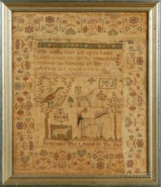 Now this looks like a little girl's sampler.  If you asked a little girl to draw a sampler border, this is what it would look like.  And of course it would have a pony, and a big old bird.  I heart this one.