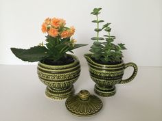 Sugar and Creamer, Mid Century Mod, Groovy Green, Lidded Sugar, Ceramic, Dining and Serving, Vintage Kitchen, Cute Planters, Retro Dining