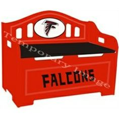 No future all-star should be without the Fan Creations Storage Bench . This beautifully carved bench features 2 spring-loaded lifts that keep the lid. Entryway Bench Storage, Outdoor Storage, Falcons Football, Football Themes, Kids Furniture, Furniture Storage, Atlanta Falcons, Minnesota Vikings, Toy Storage