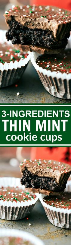 THREE INGREDIENT easy, no-bake Chocolate THIN MINT cups via chelseasmessyapron.com