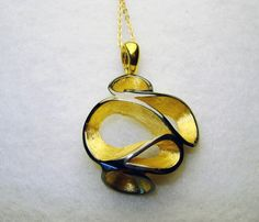Luxurious postmodern pendant plus chain, goldplated sterling silver, rhodium finishing by FavelaJewelry on Etsy