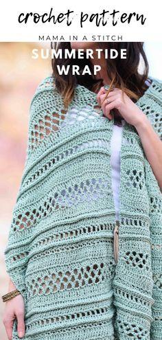 Light Crochet Shawl - Summertide Wrap Pattern – Mama In A Stitch Crochet Wrap Pattern, Free Crochet, Knit Crochet, Crochet Patterns, Crochet Scarves, Double Crochet, Prayer Shawl Crochet Pattern, Knitting Patterns, Crochet Vests