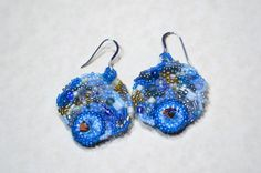 Blue Sky freeform peyote seed beaded earrings multicolored. Art jewelry. Wedding, special occasion, prom