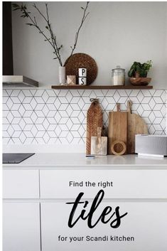 How to find the right tiles to compliment your Scandi kitchen Kitchen Wall Tiles Design, Modern Kitchen Tiles, Kitchen Black, Modern Kitchens, Grey Kitchens, Home Decor Kitchen, Kitchen Interior, Modern Interior, Interior Design