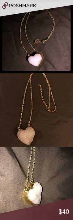 "Natural Druzy Agate,  Flat plated, heart necklace Plated Natural Druzy Agate Flat Heart shaped necklace. The color is beautiful, crystal white with a very light pink tone. The photos don't do the necklace justice.  A Very well made piece. Wear it for the beauty as well as the healing purposes crystals carries.   Length is adjustable, 18""+. Jewelry Necklaces"