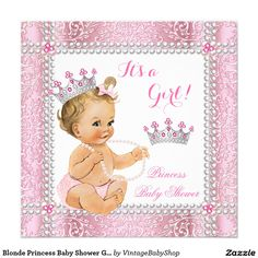 Blonde Princess Baby Shower Girl Pink Pearl Lace Invitation