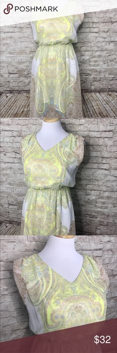 """Antonio Melani sleeveless sheer lined dress Excellent condition!  Designed with a Yellow paisley print.  Approximate measurements laying flat- Underarm to underarm 17.5"""", length 35.5"""". ANTONIO MELANI Dresses Midi"""