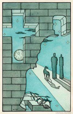 Лунная дорога, по которой удаляются Иешуа и Пилат.  Иллюстрации Юрия Смирнова