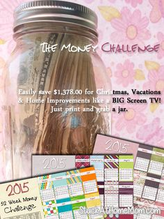 NEW 2015 Week Money Challenge 2015 Printable! Get a jar and each week put 52 week savings plan 52 Week Saving Plan, Saving Ideas, Saving Tips, Baby Afghan Patterns, Baby Afghan Crochet, 52 Week Savings, Savings Plan, 52 Week Money Challenge, Big Jar