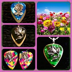 Pick the Flowers! Guitar pick necklaces and earrings - Aqua Rose Metallic $26, black gold Rose Metallic with Crystal $26, Tye dye earrings $21, Green Wooden Rose with Crystal $26 - purchase thru website!
