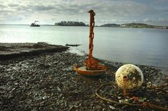 As a mooring sits in the mud at low tide, the Conor Paul crew removes moorings in Hull Bay.  GARY HIGGINS/The Patriot Ledger Purchase this photo, $8