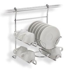 Supporto Portatazze APPLICABILE alla Barra da cucina portautensili rotonda in acciaio cromo | IBB Spa | Stilcasa.Net: barre cucina Barre, Spa