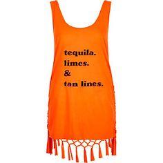 Orange 'tequila' print tassel knot back vest - Do they do a Jäger Version too? Jäger, redbull & vom..