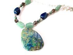 Lapis Lazuli Pendant Necklace, Unique Beaded Necklace, Navy Quartz and Green Jade