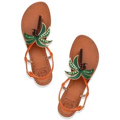 Tory Burch Castaway Flat Sandals (€175) ❤ liked on Polyvore featuring shoes, sandals, palms sandals, t-strap shoes, jeweled sandals, flat shoes and t-strap flat sandals