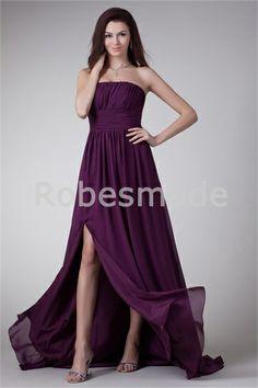 Robe de soirée raisin ornée de plis fente avant en mousseline de soie