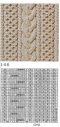 Beautiful knitting stitch pattern cable and texture aran Cable Knitting Patterns, Knitting Stiches, Crochet Stitches Patterns, Knitting Charts, Lace Knitting, Knitting Designs, Stitch Patterns, Knit Stitches, Crafts