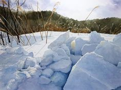 Winter - by Abe Toshiyuki ~ Watercolor Watercolor Landscape Paintings, Watercolor And Ink, Watercolour Painting, Painting & Drawing, Watercolours, Japan Watercolor, Painting Snow, Winter Painting, Winter Art