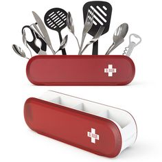 """Nice! """"From the creative minds at Art Lebedev comes the Swissarmius Swiss Army knife-inspired kitchen tool holder."""""""