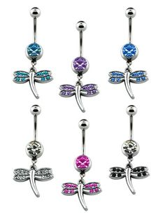 Surgical Steel Crystal Studded Dangling Dragonfly Belly Ring | eBay