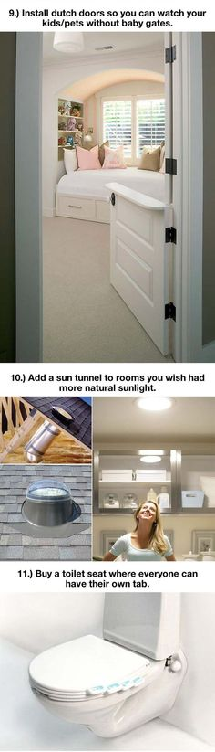 "Dutch doors instead of baby gates and sun light great for ensuite bathrooms, etc., from ""Things That Will Make Your Home Extremely Awesome"" via The Meta Picture"