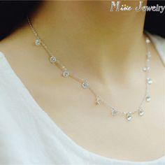 Kore Moda 925 Gümüş Kristal Boncuk Kolye 925 Ayar Gümüş Kolye ve Kolye Takı Yaka Collar Ücretsiz Nakliye