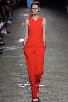 NYFW SS14 Lesson 4: If you really want to make a statement, Opening Ceremony thinks you should pair a red jumpsuit with matching red slip on sneakers (and I agree)