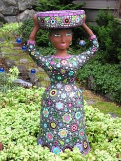 Flower dress mosaic Nek Chand's Amazing garden he worked on it in secret for 10 years now is one of India's top attractions