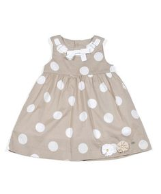 Take a look at this Tan Polka Dot A-Line Dress - Infant, Toddler & Girls by Petit Lem on #zulily today!
