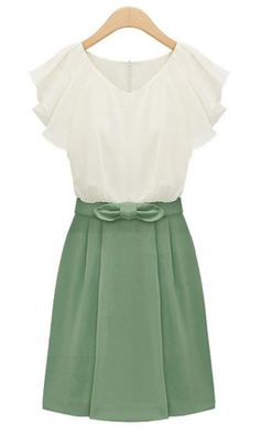 Green Short Sleeve Zipper Bow Chiffon Dress pictures