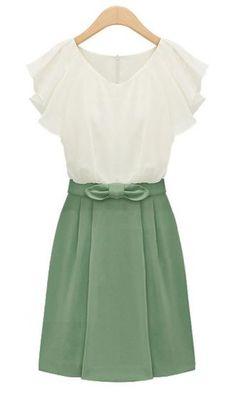 Green Short Sleeve Zipper Bow Chiffon Dress pictures